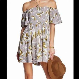 Free People Louise Smocked Mini Dress Sz Medium